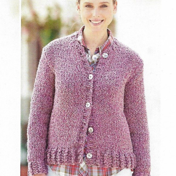 Round Neck Sweater Knitting Pattern : Round neck Cardigan and matching Snood knitting pattern only